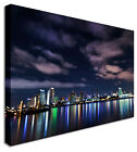 City Night Lights Lake Reflect Canvas Prints Wall Art Picture Large Any Size