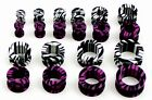ZEBRA STRIPE SCREW EAR PLUG FLESH TUNNEL TAPER. CHOOSE YOUR SIZE AND COLOUR