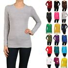Cotton T-SHIRTS CREW/ROUND NECK Long Sleeve Women/Junior Solid Top S-XL SJ2900