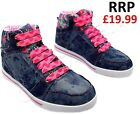 NEW GIRLS KIDS ANKLE HIGH TOP TRAINERS SKATE BASEBALL SCHOOL BOOTS SZ 13-5 UK