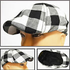 NEW CRUSHABLE DUCK BILL NEWSBOY STYLE IVY DRIVER GOLF CASUAL HAT CAP BLK&WH CHCK