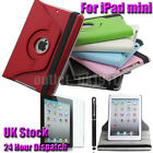 Leather 360 Degree Rotating Case Cover for iPad mini Free Screen Protector+Pen