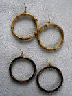 "Real Bamboo Wood  2.5"" Large Diameter Dangle Hoop Earrings- 2 Color Choices"