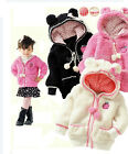 Girls Kids Hoodies Warm Jacket, Pink White with Polka Dot Hoods Age 1 2 3 4 NEW