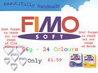 FIMO Soft 56g Polymer Clay 24 Colours 5cm x 5cm Modelling Jewellery Craft Art