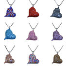 DIAMANTE HEART PENDANT SILVER TONE CHAIN LADIES FASHION NECKLACE GIFT