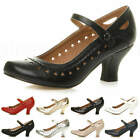 WOMENS LADIES LOW KITTEN HEEL MARY JANE STYLE WORK COURT SHOES PUMPS SIZE