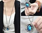 Women Fashion Moon Blue/coffee Crystal Sweater Chain ajustable pandent Necklace