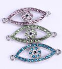 6Pcs Glass Crystal Evil Eye Special Charm Connectors For Jewelry DIY