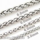 """3MM-6MM 18""""~30"""" MENS Silver Stainless Steel Twist Chain Necklace 18""""-30""""  SN#750"""