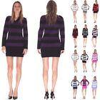 New Stripe Knitted Jumper Cardigan Top Long Sleeve Sexy FR04 Plus Size 8-20