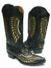 Women's ladies black leather cowboy boots sequins western rodeo riding biker