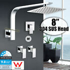 """WELS 8"""" 200mm ABS Square Rain Shower Head Wall Arm Set with Mixer Tap WATERMARK"""