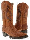 Men's cowboy biker boots cognac leather crocodile alligator back cut motorcycle