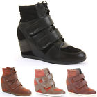 Ladies Hi Tops Trainer Wedge Wedges Lace Up Platform Ankle Boots Shoes Size
