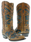 women's turquoise brown cowboy western leather ladies boots overlay rodeo riding