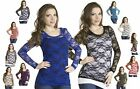 Macondostyles Basic Sheer LACE Floral Long Sleeve Stretch Casual Tee Shirt Top