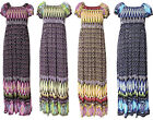 WOMENS FLORAL PRINT LADIES LONG STRETCH RUCHED SUMMER MAXI DRESS SIZE 8 10 12