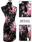 CF black white Chinese ssilk Women's mini Dress Cheongsam SZ:6.8.10.12.14.16