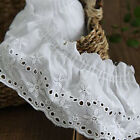Antique Victorian Eyelet Gathered Broderie Wedding Veil Cotton Wide Edge Lace