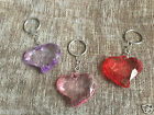 Funky Novelty Clear Coloured Plastic Slanty Heart Shaped Keyring * NEW *