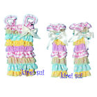 Light Blue White Polka Dots Pink Yellow Lace Bow Petti Rompers Warmers Set
