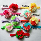 10pcs 3inch Colorfule Chiffon Flower + Shimmer elastic headbands hair accessory