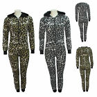 LADIES LEOPARD PRINT HOODED ZIP ONESIE ALL IN ONE JUMPSUIT PLAYSUIT SIZE 6-14 UK