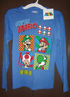 SUPER MARIO BROTHERS Boys Blue Longsleeve Top NWT Size M 7-8 or 12-14 XL