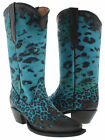Women's cowboy boots ladies cheetah leather western riding biker rodeo new