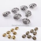 New 10Pcs Antique Tibetan silver Ellipse Shaped Hollow Spacer Bead 28*18*11mm