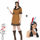 Ladies Indian Maiden Squaw Costume Maid Wild West Fancy Dress Costume ADD Wig
