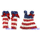 4th July Blue Star Red White Lace Petti Pettidress Party Dress Warmers 2pc 6M-5M