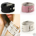 Pinks White Fashion Vogue 13 PU Leather Wind Belt Buckle Bracelet Cuff Wristband