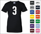 Number 3 Three Sports Number Woman's Jersey T-shirt Front Print