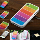 fashion Rainbow Stripe Frame Silicone Case Skin Cover For iPhone 4 4S+ LCD Film
