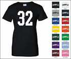 Number 32 Thirty Two Sports Number Woman's Jersey T-shirt Front Print