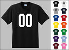 Number 00 Zero Zero Sports Number Youth Jersey T-shirt Front Print