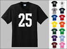 Number 25 Twenty Five Sports Number Youth Jersey T-shirt Front Print