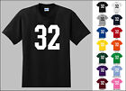 Number 32 Thirty Two Sports Number Youth Jersey T-shirt Front Print