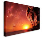 Large Picture Sci Fi Sunset Palm Trees Planets Canvas Art Cheap Print
