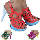 ladie women sandal patent peep toe design high heels platform strappy uk size