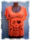 Shirt Top Totenkopf Herz Oversized Skull Neon Orange Gr. S M L XL  36 38 40 42