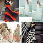 Fashion Womens Summer Beach BOHO Floral Stripe Print Maxi Long Dress Sundress