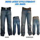 "MENS FB JEANS TRENDY STRAIGHT LEG CLASSIC FIT JEANS WITH BELT SIZE 30""-42"""