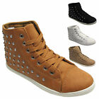 WOMENS DIAMANTE HIGH HI TOP TRAINERS GIRLS ANKLE BOOTS SHOES UK SIZE 3 4 5 6 7 8