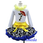 7th Birthday Cowgirl Pettiskirt Red Hat White Long Sleeves Top 2pcs Outfit 1-7Y