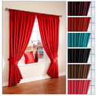 FULLY LINED FAUX SILK PURITY CURTAINS - FREE TIEBACKS INCLUDED - MANY COLOURS!