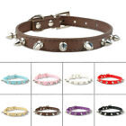 Didog 2pcs Spiked Studded PU Leather Dog Puppy Collars for Small Medium Dogs