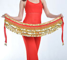New Belly Dance Costume Hip Scarf Belt velvet  3 layers Golden Coins 10 Colors